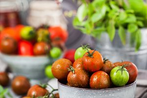 Fresh ripe cherry tomatoes in bowl o