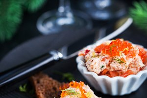 Salmon pate  with red caviar served