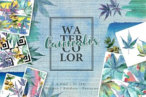 Watercolor cannabis PNG leaves set