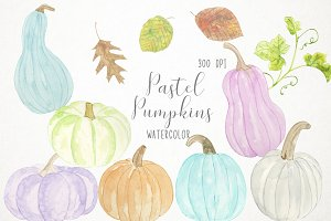 Watercolor Pastel Pumpkins Clipart