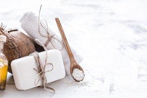 Spa still life of organic cosmetics