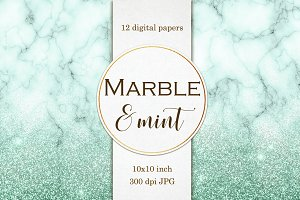 Mint Marble and Glitter paper pack