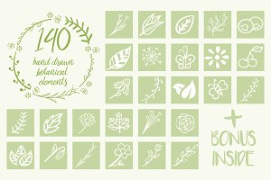 140 Hand Drawn Botanical Elements