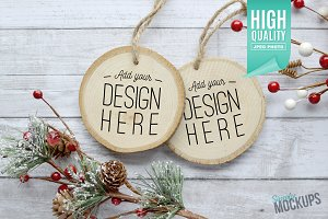 Round Wood Ornament Mockup - 2 Sided
