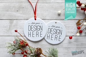Round Ornament Mockup - 2 Sided