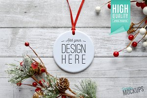 Round Ornament Mockup - 1 Sided