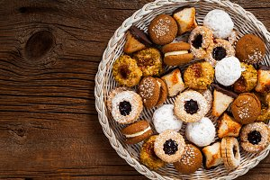 Assorted Mixed Cookies Background