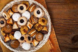 Mixed Cookies Background Dessert