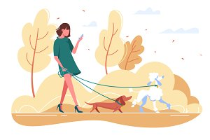 Woman walks with dog