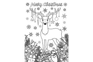 Merry Christmas Greeting Coloring