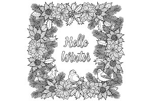 Hello Winter Greeting Coloring Page
