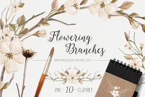 WatercolorRetroSet.FloweringBranches