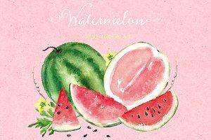 Watermelon watercolor clip art