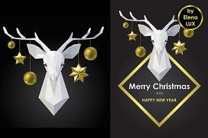 Christmas Polygonal Deer Set