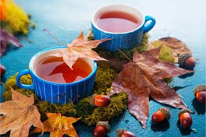 Autumn drink photography with hot