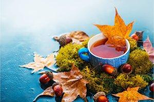 Autumn tea with a blue handmade