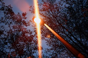 Dramatic night lamp in park object b