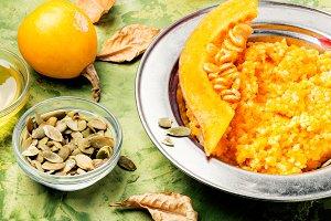 Autumn porridge with pumpkin