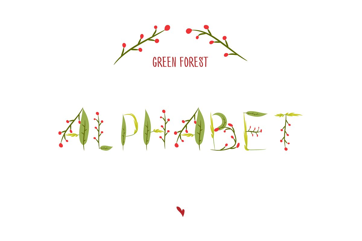 Green forest Alphabet. Vector font
