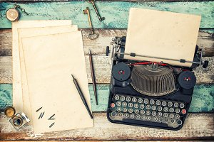 Antique typewriter used paper sheets