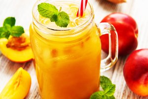 Nectarine juice with fresh fruits