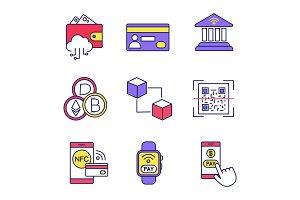 E-payment color icons set