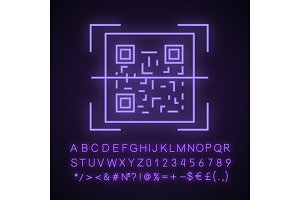 QR code scanner neon light icon