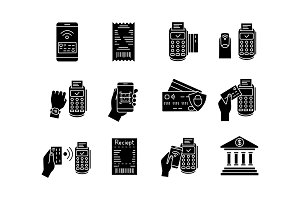 NFC payment glyph icons set