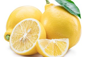 Lemon fruits and lemon slices on whi