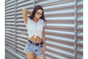 Casual summer retro look. Attractive