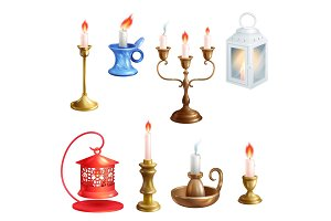 Candlestick vector candle lantern