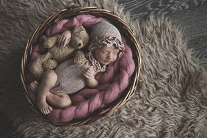 newborn in basket with teddy bear