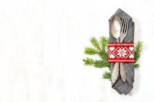 Christmas table place setting decor