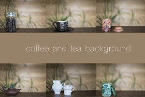 Wooden table with tea, coffee theme