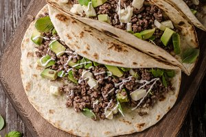 Homemade minced beef tortilla, fresh
