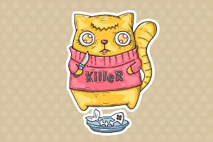 cartoon killer cat