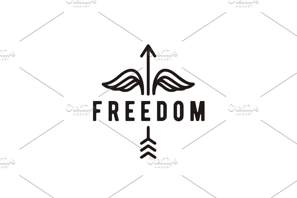 Hipster Arrow Wings Freedom Logo