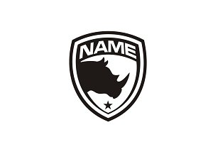 Silhouette Rhino Badge Shield Logo