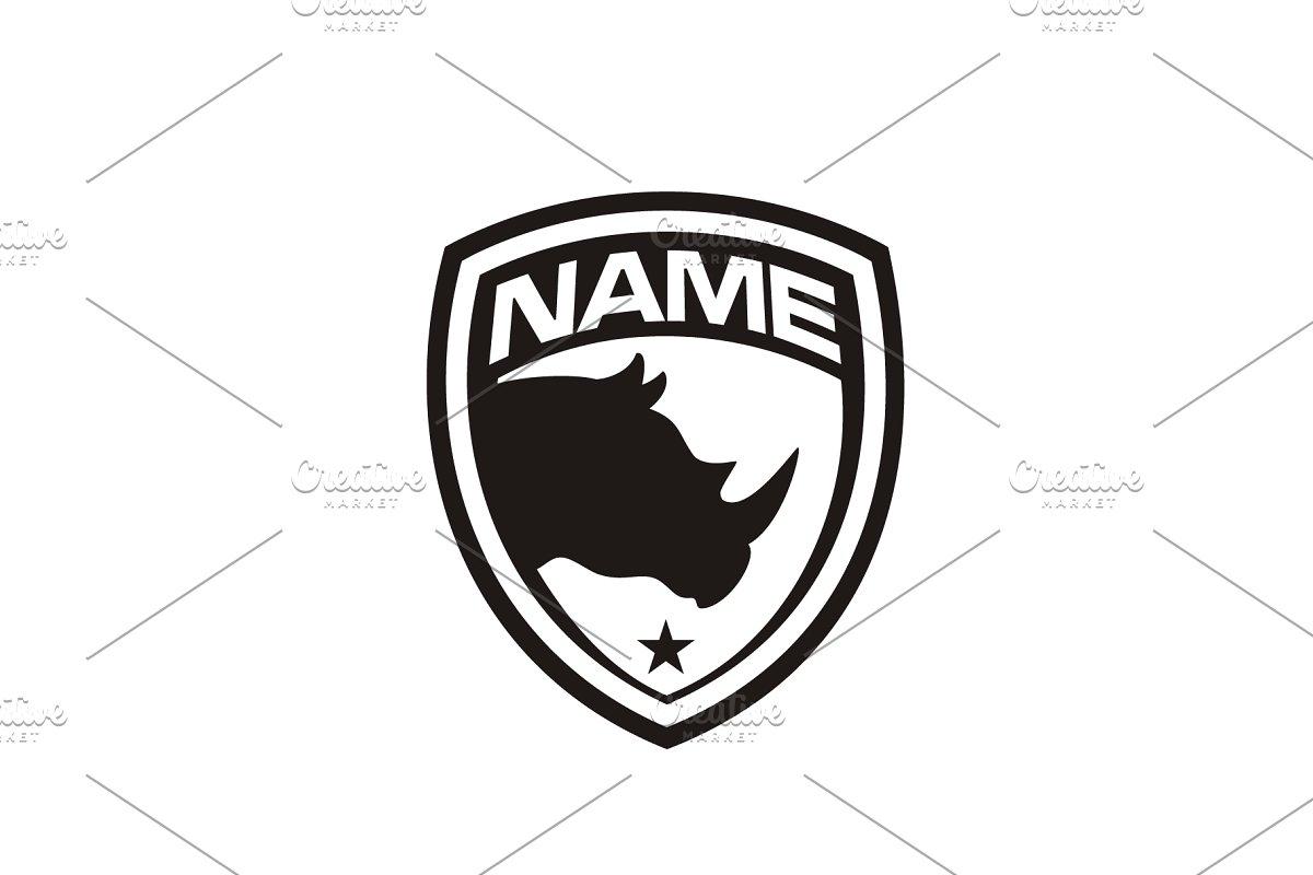 Silhouette Rhino Badge Shield Logo Logo Templates Creative Market