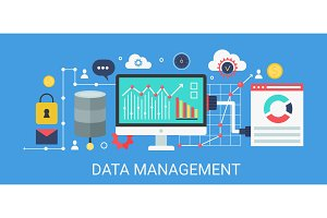 Data management concept banner.