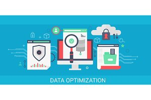 Data optimization concept banner.