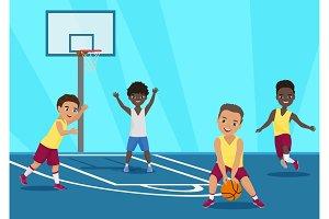 Kids playing basketball in schoool