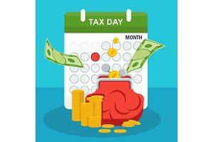 Tax day concept. Stack of money