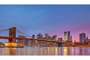 Brooklyn bridge and Manhattan at