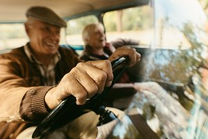 Senior couple out on a drive