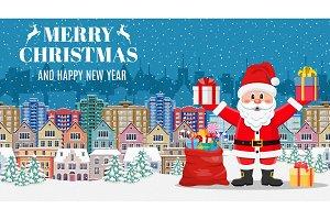 Christmas card with greeting,
