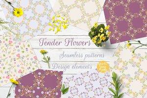 Tender Flowers   Seamless Patterns