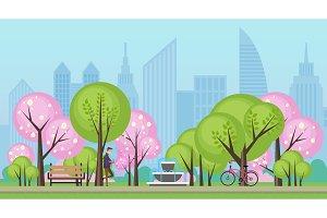 Spring summer public city park