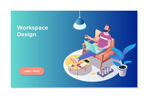 Freelancer concept, coworking people