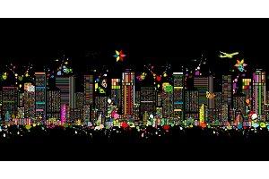 Colorful night metropolis, seamless